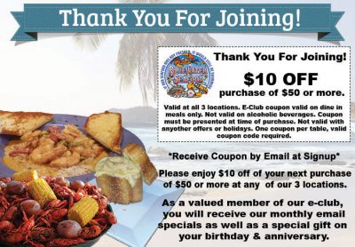 Thank you for joining the Bluewater E-Club Coupon