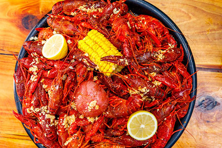 Bluewater Seafood platter of boiled crawfish