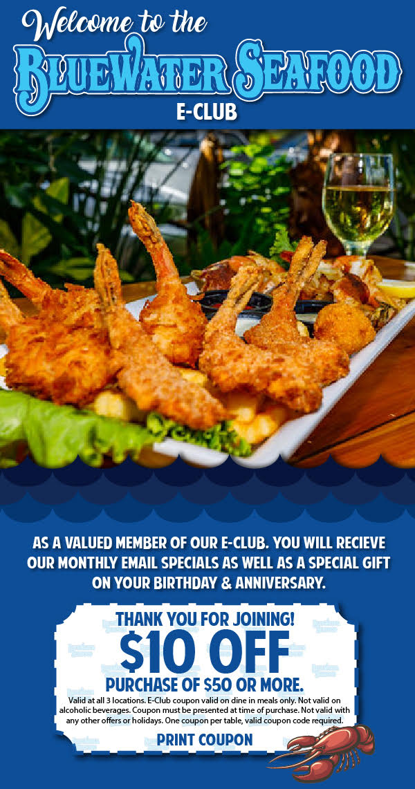 Welcome bluewater seafood eclub